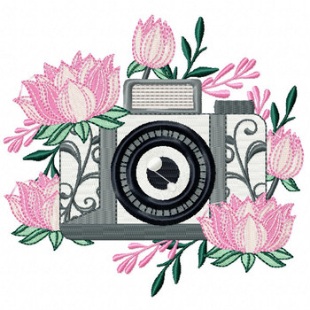 Pink Flower Camera Machine Embroidery Design - Photography Hobby #02