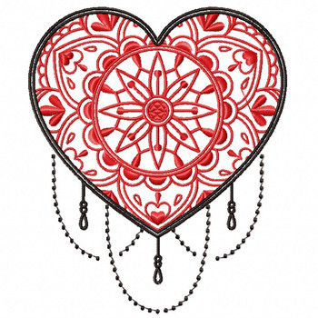 Mandala Heart Collection #01 Machine Embroidery Design