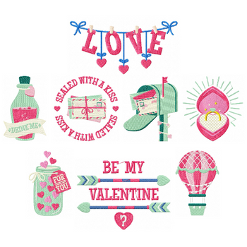 General Valentine Collection of 8 Machine Embroidery Designs