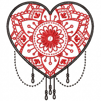 Mandala Heart Collection #03 Machine Embroidery Design