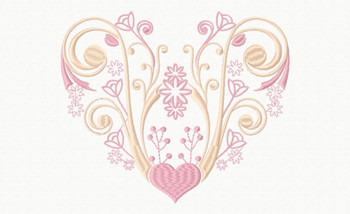 Abstract Heart Swirls #05 Machine Embroidery Design