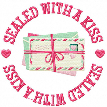 Sealed with a Kiss - Machine Embroidery Design - General Valentine #08
