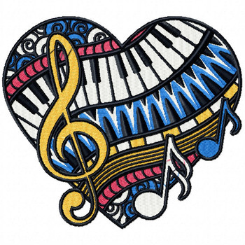 Music Lovers - Love For Hobby Collection #01 Machine Embroidery Design