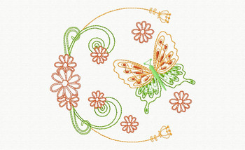 Beautiful Butterfly and Floral #08 Machine Embroidery Designs