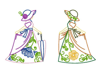 Old Fashioned Floral Ladies Twin Pack #1 Machine Embroidery Designs