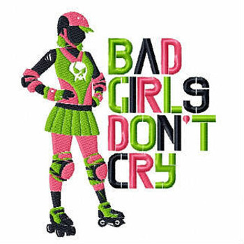 Bad Girls Dont Cry - Roller Derby Girl #4 Machine Embroidery Design