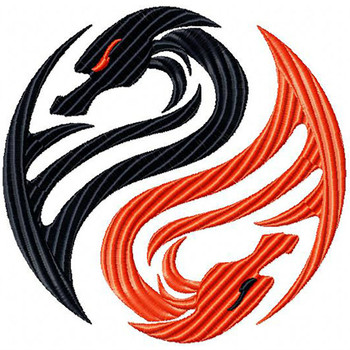 Yin Yang - Tribal Dragon #8 Machine Embroidery Design