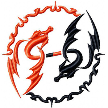 Yin Yang Dragon - Tribal Dragon #11 Machine Embroidery Design