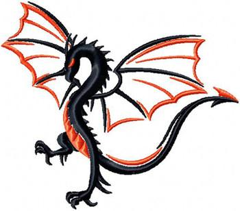 Winged Two Tone Dragon - Tribal Dragon #12 Machine Embroidery Design