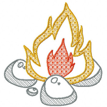 Camp Fire - Camping #01 Machine Embroidery Design