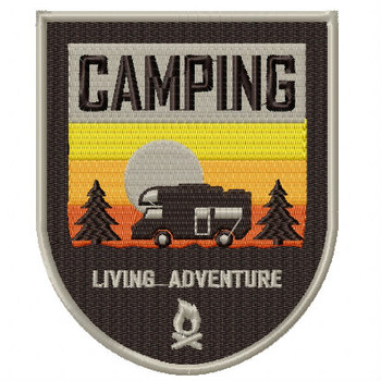 Camping Badge #01 Machine Embroidery Design