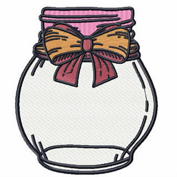 Mustard Bow Mason Jar - Canning Jars #02 Machine Embroidery Design