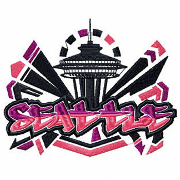 Seattle - Geography Graffiti Collection #09 Machine Embroidery Design