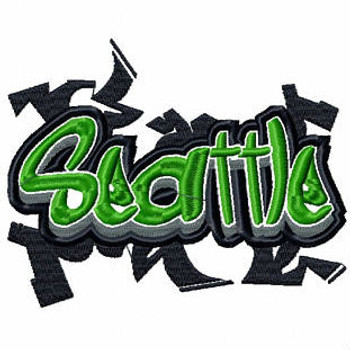 Seattle - Geography Graffiti Collection #11 Machine Embroidery Design