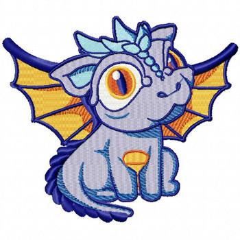 Purple Dragon - Dragon Cartoon #02 Machine Embroidery Design