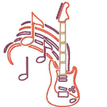 Outlined Electric Guitar - Musical Instrument Collection #05 Machine Embroidery Design