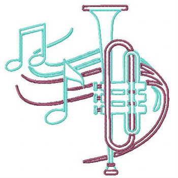 Outlined Trumpet - Musical Instrument Collection #07 Machine Embroidery Design