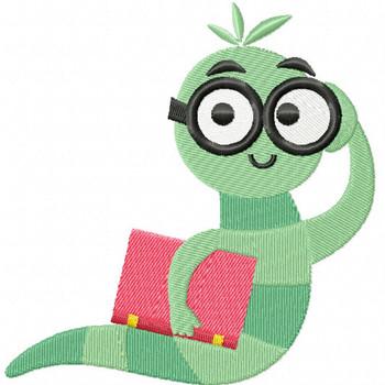 Back to School Worm - Bookworm #04 Machine Embroidery Design