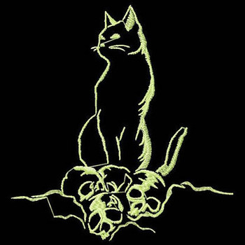Cat - Glow in the Dark Halloween #02 Machine Embroidery Design