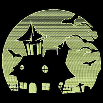Haunted House - Glow in the Dark Halloween #04 Machine Embroidery Design