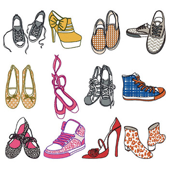 Shoe Collection of 12 Machine Embroidery Designs