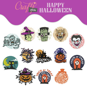Happy Halloween Collection of 13 Machine Embroidery Designs