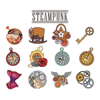 Steampunk Collection of 12 Machine Embroidery Designs