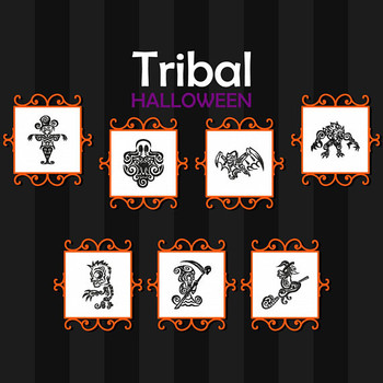 Tribal Tattoo Halloween Collection 7 Machine Embroidery Designs in Stitched and Applique