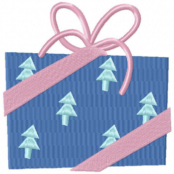 Blue Printed Gift - Christmas Gift #14 Machine Embroidery Design