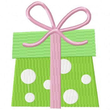 Green Polka Gift - Christmas Gift #16 Machine Embroidery Design