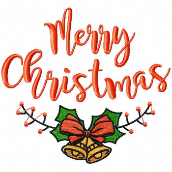 Merry Christmas - Christmas Typography #01 Machine Embroidery Design