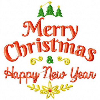 Merry Christmas & Happy New Year - Christmas Typography #04 Machine Embroidery Design
