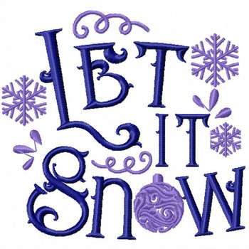 Let it Snow - Christmas Typography #09 Machine Embroidery Design