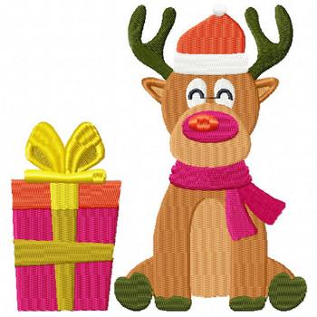 Reindeer with Christmas Gift- Santa's Reindeer #02 Machine Embroidery Design