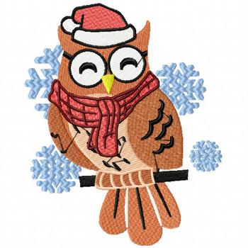 Christmas Owl - Christmas Woodland Animals #01 Machine Embroidery Design