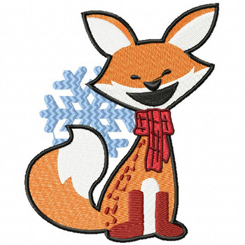 Christmas Fox with Snowflakes - Christmas Woodland Animals #02 Machine Embroidery Design