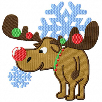 Christmas Moose with Red Nose - Christmas Woodland Animals #04 Machine Embroidery Design