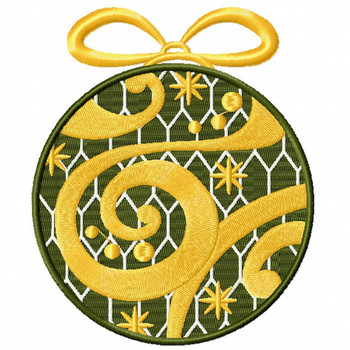 Golden Ornament - Christmas Ornaments #04 Machine Embroidery Design