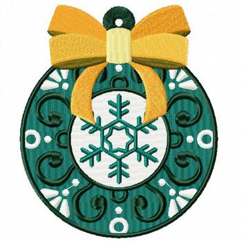 Yellow Ribbon Ornament - Christmas Ornaments #11 Machine Embroidery Design