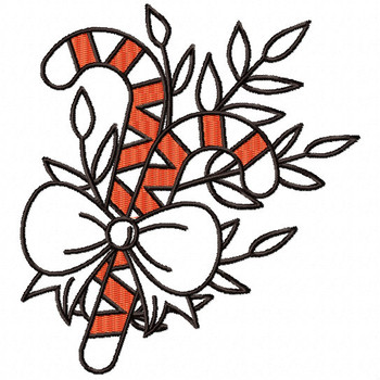 Candy Cane Ornament - Christmas Ornaments #14 Machine Embroidery Design