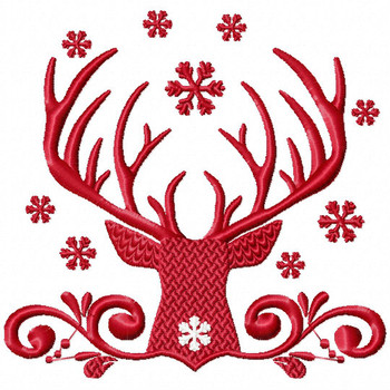 Christmas Antlers #03 Machine Embroidery Design
