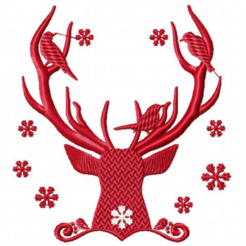 Christmas Antlers #08 Machine Embroidery Design