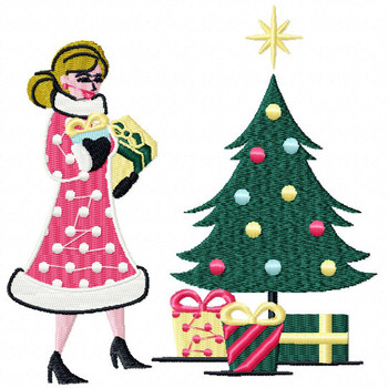 Lady with the Christmas Tree - Yuletide Design #05 Machine Embroidery Design