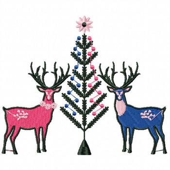 Christmas Reindeer #01 Machine Embroidery Design