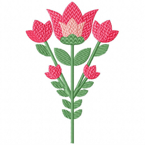 Pretty in Pink Tulips - Flower Embellishment #01 Machine Embroidery Design