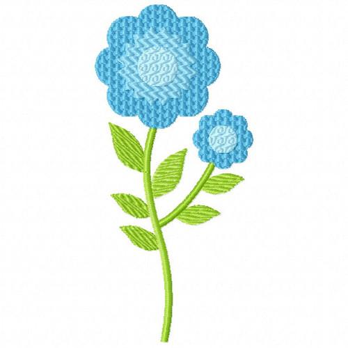 Bright Blue Flower - Flower Embellishment #02 Machine Embroidery Design