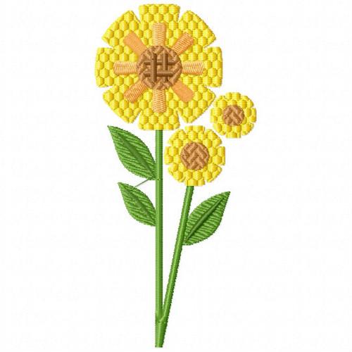 Golden Yellow Flower - Flower Embellishment #04 Machine Embroidery Design