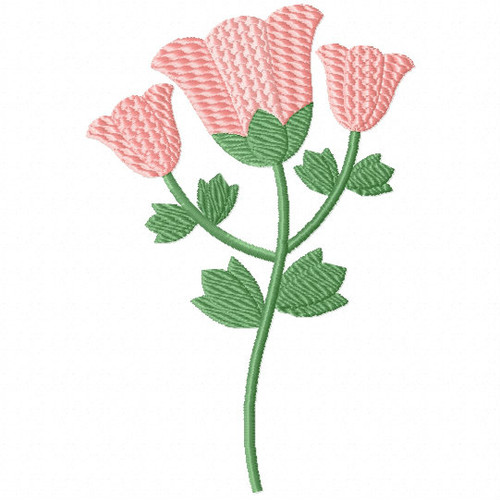 Blush Pink Tulips - Flower Embellishment #05 Machine Embroidery Design