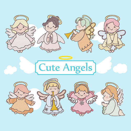 Cute Angels Collection of 8 Machine Embroidery Designs