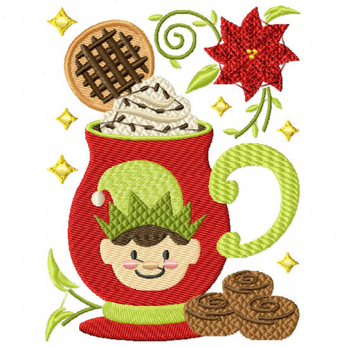Cookie Elf Drink - Christmas Hot Drinks #05 Machine Embroidery Design